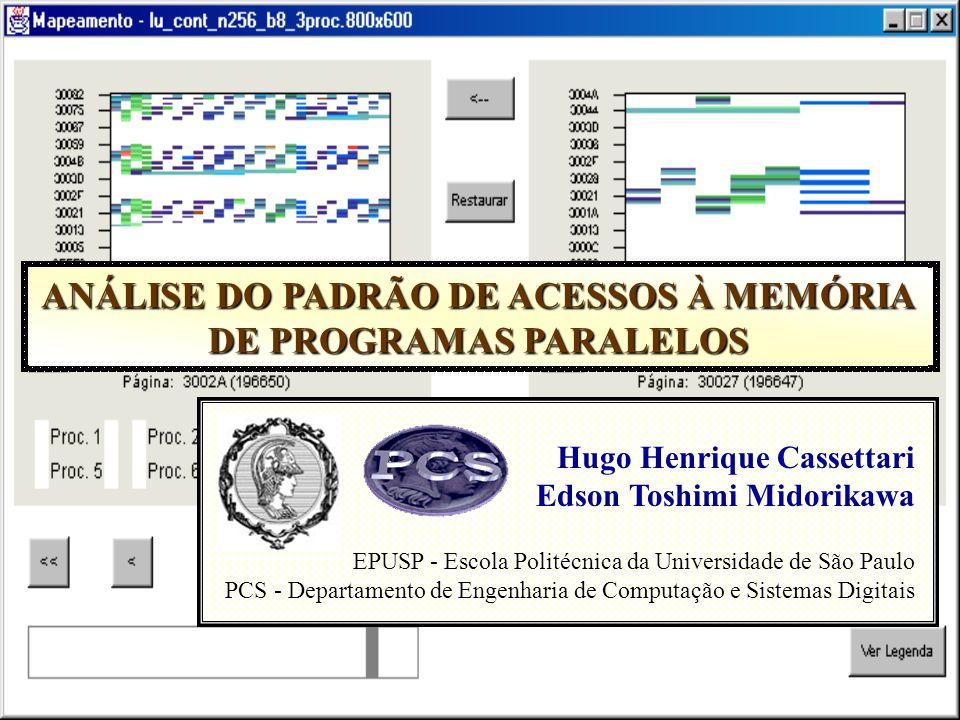 CBComp 2002 - Análise do Padrão de Acessos à Memória de Programas Paralelos / EPUSP Estudo de Caso: Multiplicação de Matrizes Três formas básicas de acesso aos elementos: – Acesso por linhas – Acesso por colunas – Acesso por diagonais