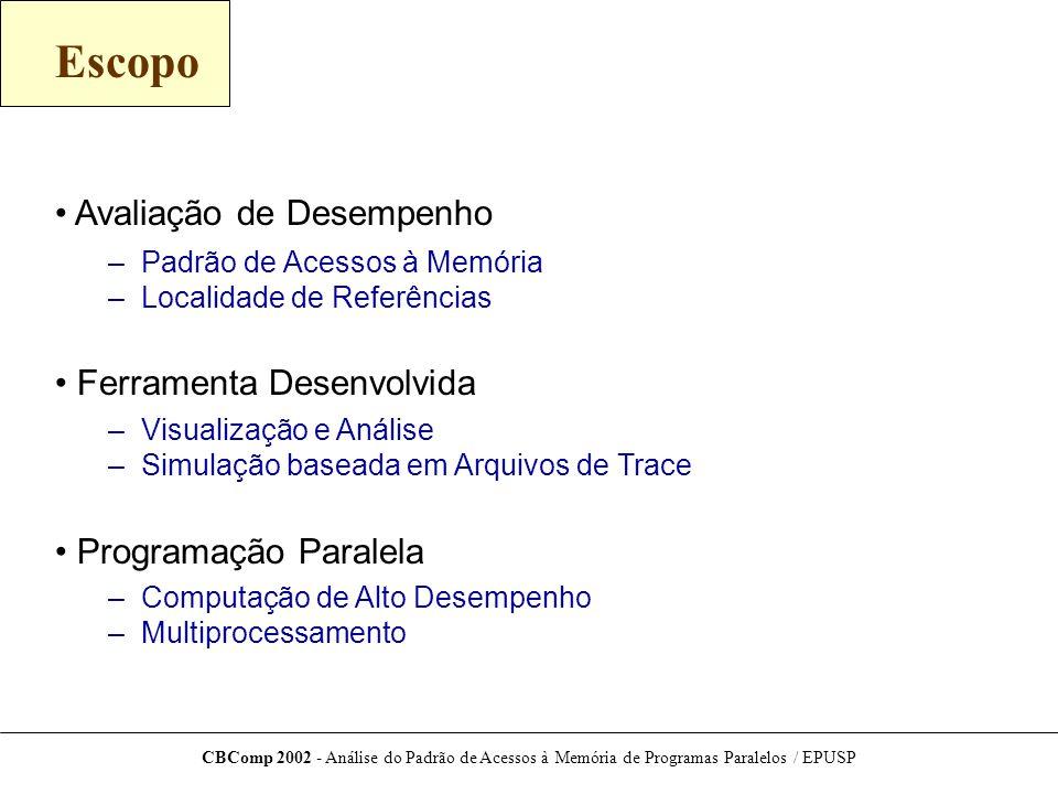 CBComp 2002 - Análise do Padrão de Acessos à Memória de Programas Paralelos / EPUSP Padrão de Acessos da Versão ikj-uj-sr