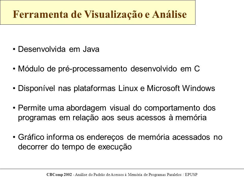 CBComp 2002 - Análise do Padrão de Acessos à Memória de Programas Paralelos / EPUSP Trabalhos Futuros Utilização de programas de estudo maiores Análise aprofundada do sistema de memória virtual Suporte a arquivos de trace compactados Suporte a programas MPI (processamento distribuído)