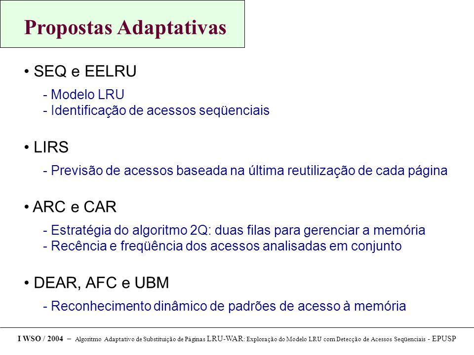 Propostas Adaptativas SEQ e EELRU  Modelo LRU  Identificação de acessos seqüenciais LIRS  Previsão de acessos baseada na última reutilização de cada página ARC e CAR  Estratégia do algoritmo 2Q: duas filas para gerenciar a memória  Recência e freqüência dos acessos analisadas em conjunto DEAR, AFC e UBM  Reconhecimento dinâmico de padrões de acesso à memória I WSO / 2004 – Algoritmo Adaptativo de Substituição de Páginas LRU-WAR : Exploração do Modelo LRU com Detecção de Acessos Seqüenciais - EPUSP