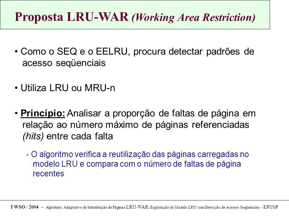 Proposta LRU-WAR (Working Area Restriction) Como o SEQ e o EELRU, procura detectar padrões de acesso seqüenciais Utiliza LRU ou MRU-n Princípio: Analisar a proporção de faltas de página em relação ao número máximo de páginas referenciadas (hits) entre cada falta  O algoritmo verifica a reutilização das páginas carregadas no modelo LRU e compara com o número de faltas de página recentes I WSO / 2004 – Algoritmo Adaptativo de Substituição de Páginas LRU-WAR : Exploração do Modelo LRU com Detecção de Acessos Seqüenciais - EPUSP