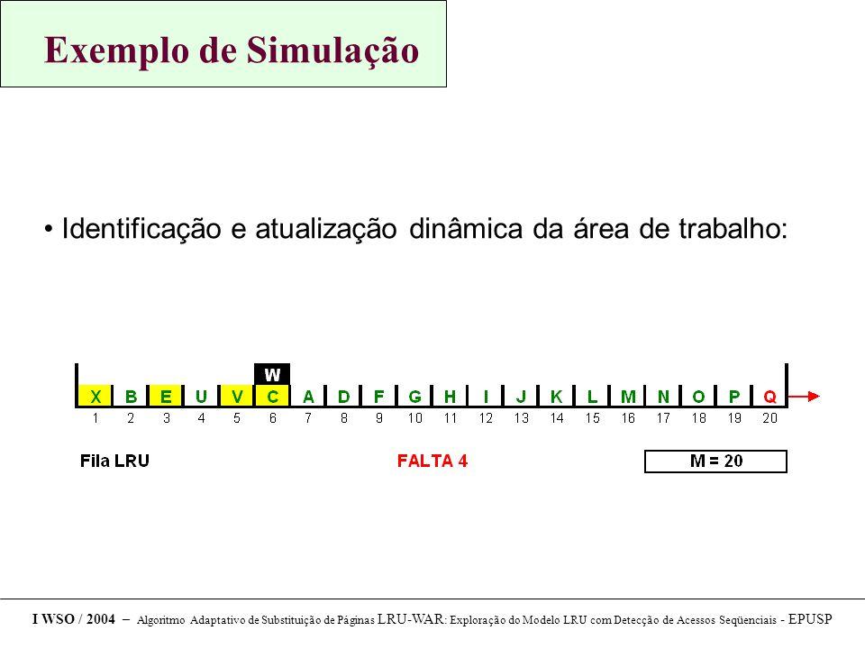 Exemplo de Simulação Identificação e atualização dinâmica da área de trabalho: I WSO / 2004 – Algoritmo Adaptativo de Substituição de Páginas LRU-WAR : Exploração do Modelo LRU com Detecção de Acessos Seqüenciais - EPUSP