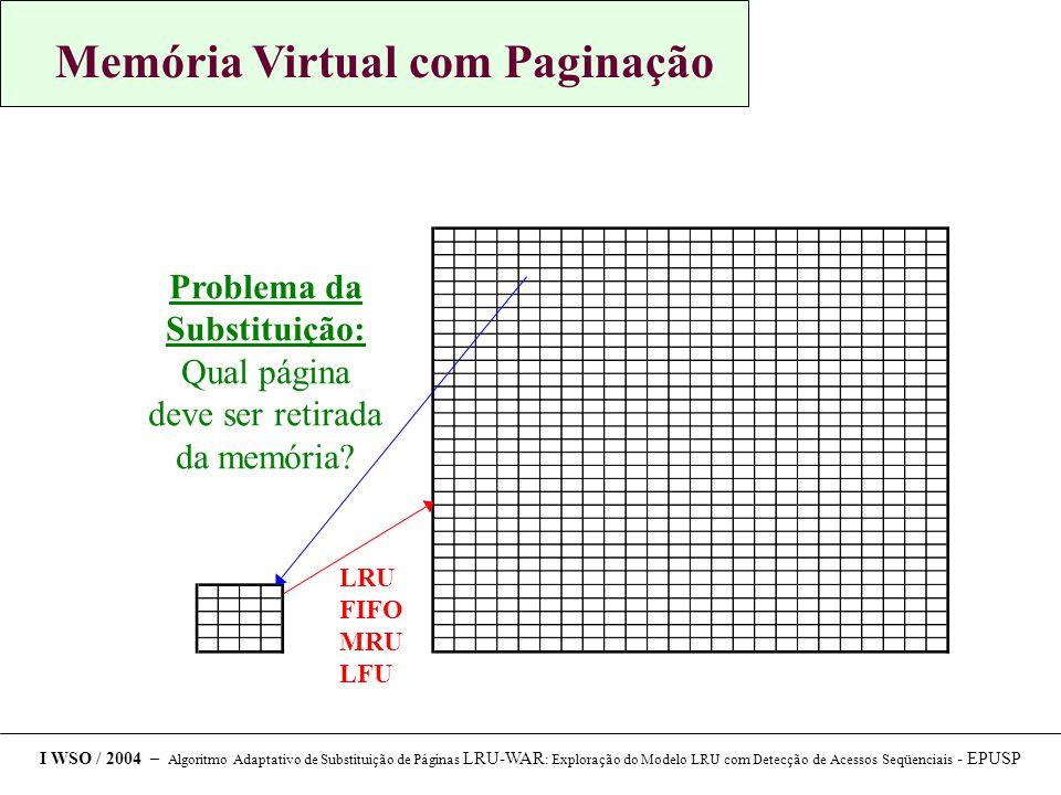 Memória Virtual com Paginação I WSO / 2004 – Algoritmo Adaptativo de Substituição de Páginas LRU-WAR : Exploração do Modelo LRU com Detecção de Acessos Seqüenciais - EPUSP Problema da Substituição: Qual página deve ser retirada da memória.