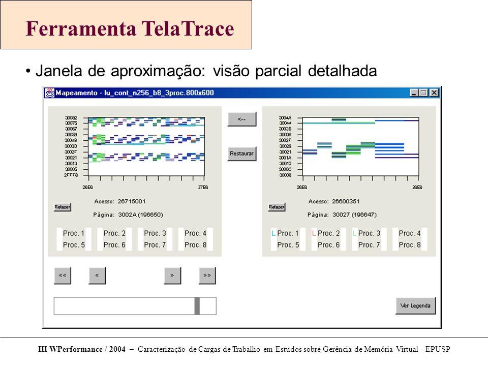 III WPerformance / 2004 – Caracterização de Cargas de Trabalho em Estudos sobre Gerência de Memória Virtual - EPUSP Ferramenta TelaTrace Janela de apr