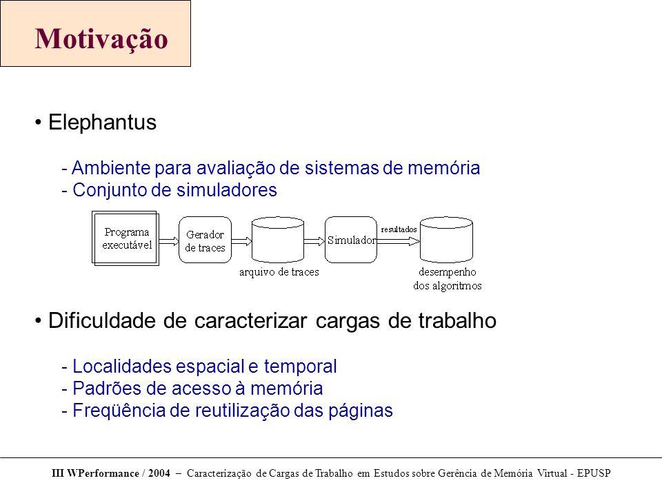Motivação Elephantus  Ambiente para avaliação de sistemas de memória  Conjunto de simuladores Dificuldade de caracterizar cargas de trabalho  Local