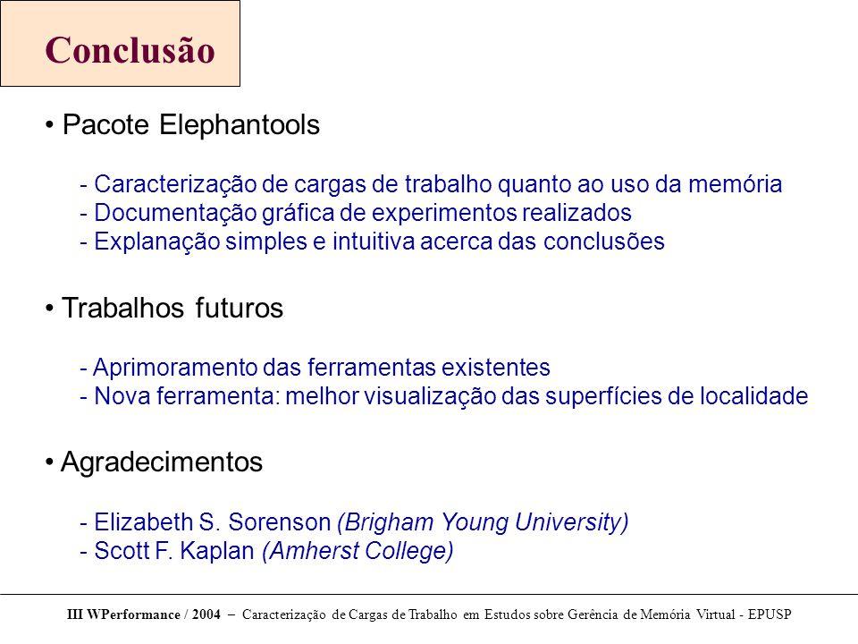 Conclusão Pacote Elephantools  Caracterização de cargas de trabalho quanto ao uso da memória  Documentação gráfica de experimentos realizados  Expl