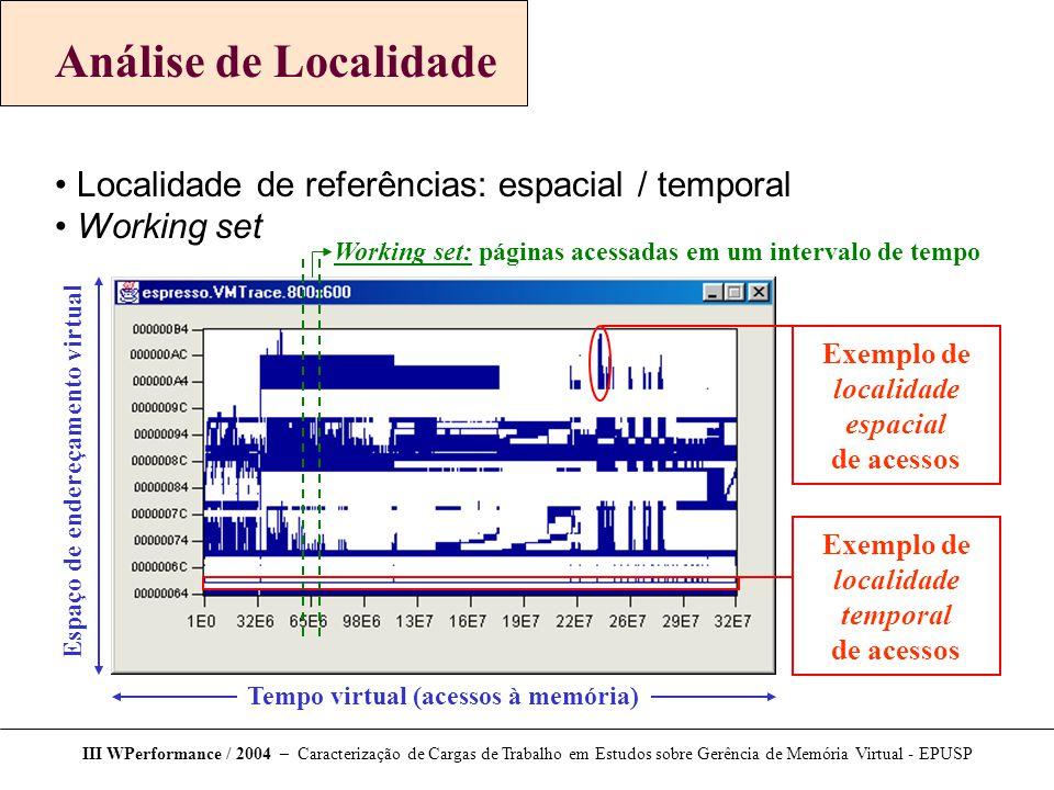 Análise de Localidade Localidade de referências: espacial / temporal Working set III WPerformance / 2004 – Caracterização de Cargas de Trabalho em Est