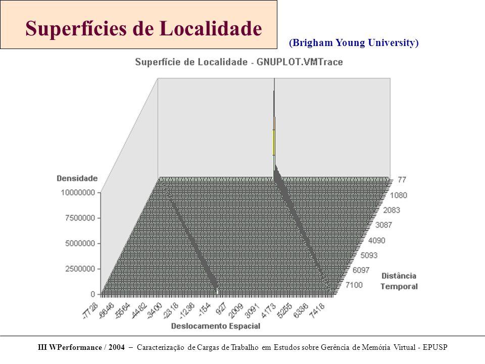 III WPerformance / 2004 – Caracterização de Cargas de Trabalho em Estudos sobre Gerência de Memória Virtual - EPUSP Ferramenta Trace Explorer Mapa de recência dos acessos (desenhado com o Gnuplot)