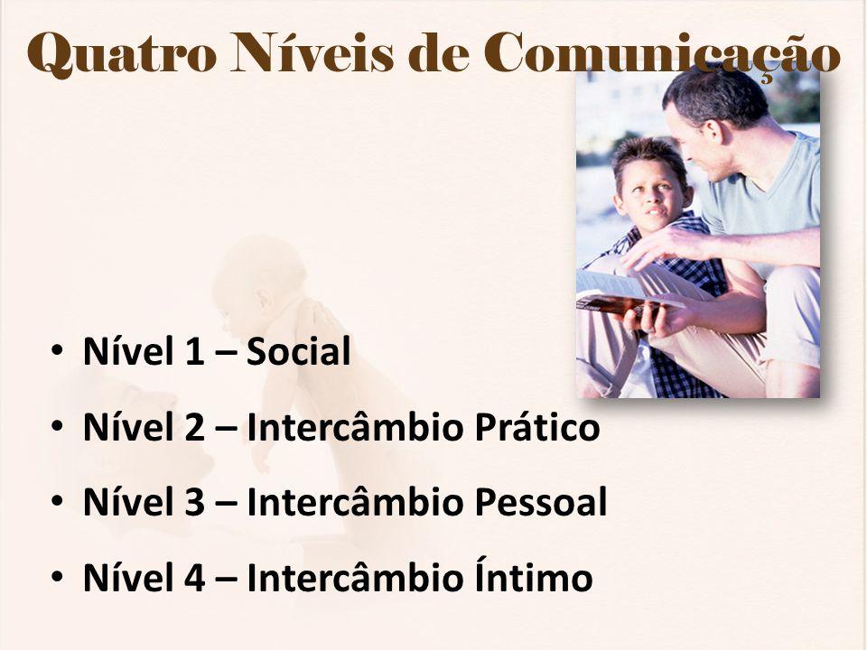 Quatro Níveis de Comunicação Nível 1 – Social Nível 2 – Intercâmbio Prático Nível 3 – Intercâmbio Pessoal Nível 4 – Intercâmbio Íntimo