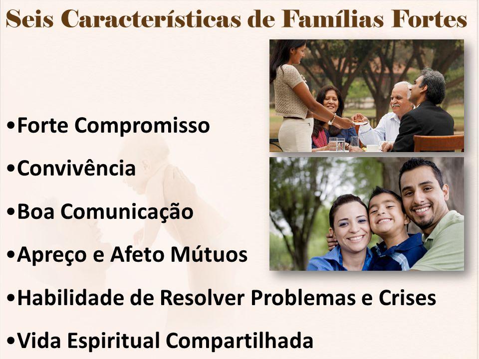 Seis Características de Famílias Fortes Forte Compromisso Convivência Boa Comunicação Apreço e Afeto Mútuos Habilidade de Resolver Problemas e Crises