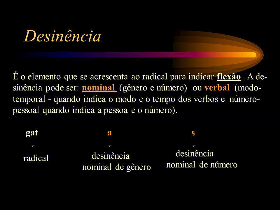 Desinência É o elemento que se acrescenta ao radical para indicar flexão.