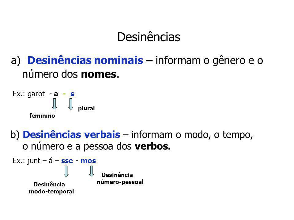 Desinências a) Desinências nominais – informam o gênero e o número dos nomes.