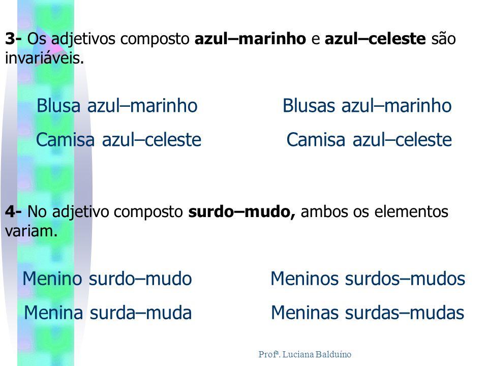 Profª. Luciana Balduíno 3- Os adjetivos composto azul–marinho e azul–celeste são invariáveis. Blusa azul–marinho Blusas azul–marinho Camisa azul–celes