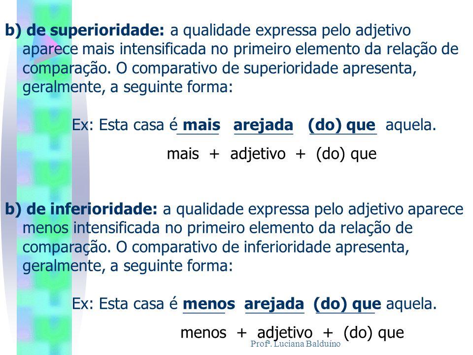 Profª. Luciana Balduíno b) de inferioridade: a qualidade expressa pelo adjetivo aparece menos intensificada no primeiro elemento da relação de compara