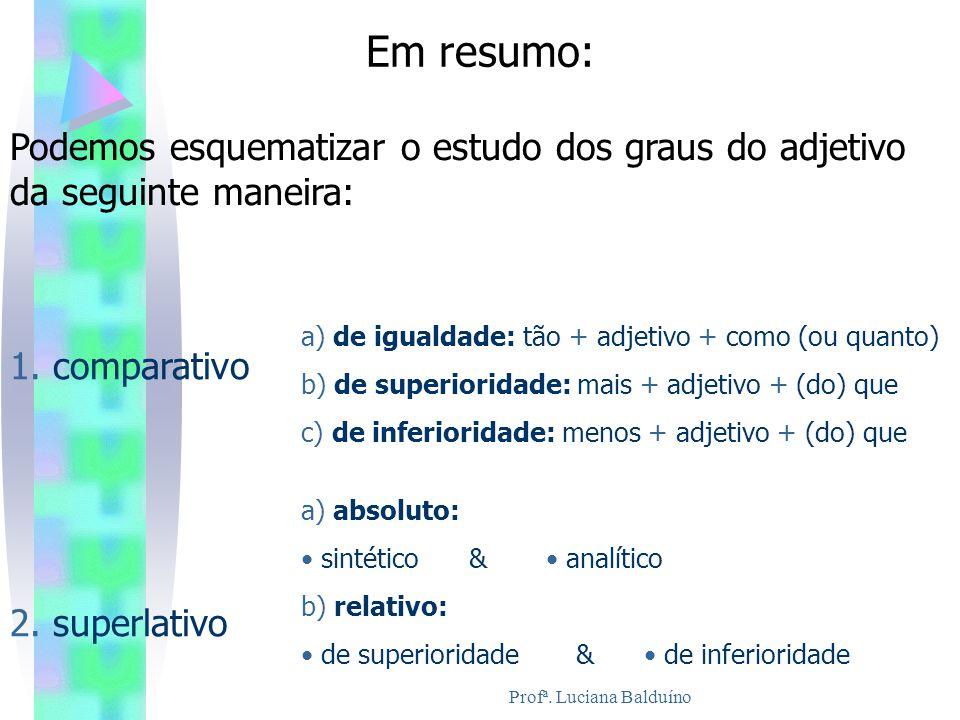 Profª. Luciana Balduíno Em resumo: Podemos esquematizar o estudo dos graus do adjetivo da seguinte maneira: 1. comparativo a) de igualdade: tão + adje