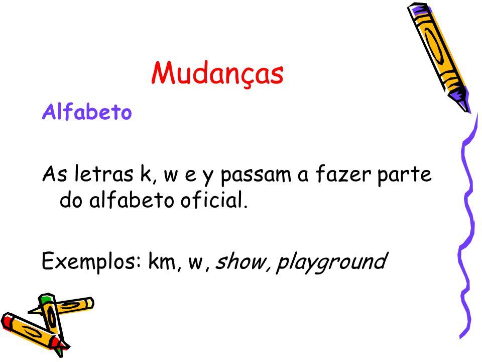 Mudanças Alfabeto As letras k, w e y passam a fazer parte do alfabeto oficial. Exemplos: km, w, show, playground