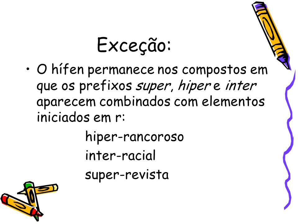 Exceção: O hífen permanece nos compostos em que os prefixos super, hiper e inter aparecem combinados com elementos iniciados em r: hiper-rancoroso int