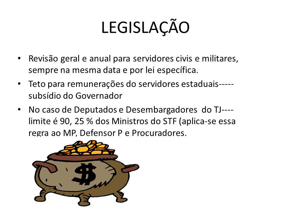 LEGISLAÇÃO Revisão geral e anual para servidores civis e militares, sempre na mesma data e por lei específica.