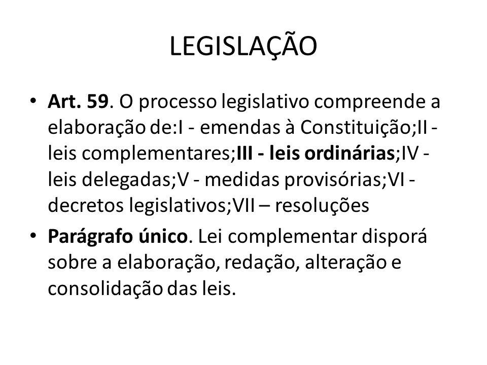 Legislação A Constituição prevê que certas matérias só podem ser tratadas por lei complementar, que possui um processo de aprovação mais rígido, exige maioria absoluta.