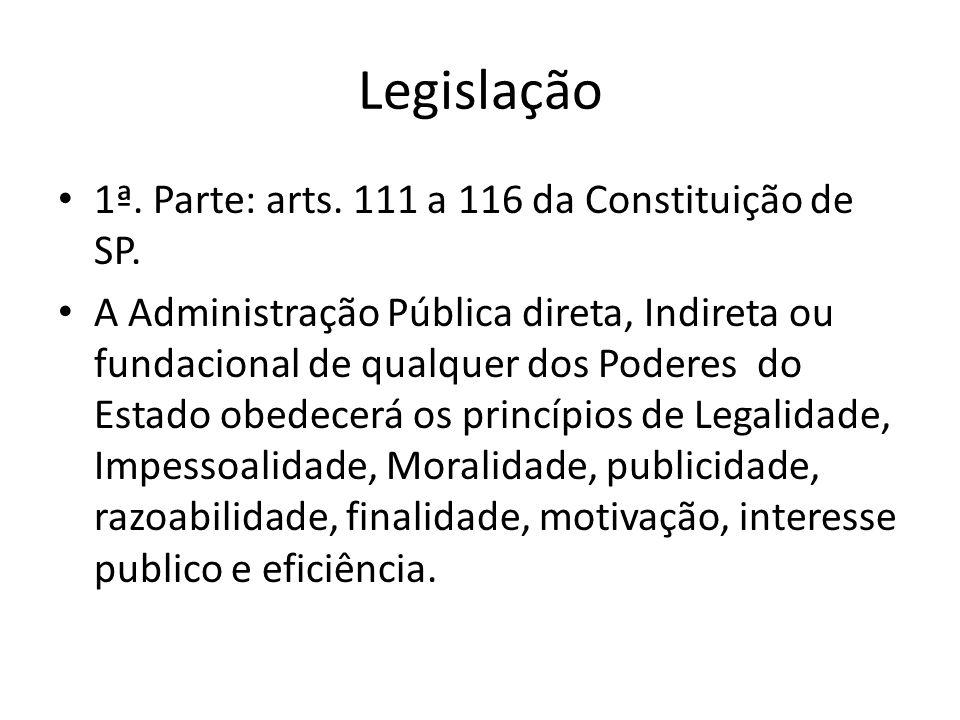 Legislação 1ª.Parte: arts. 111 a 116 da Constituição de SP.