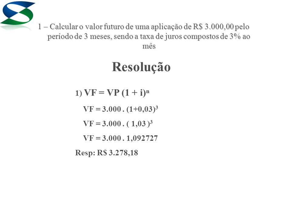 Resolução 1) VF = VP (1 + i)ⁿ VF = 3.000. (1+0,03) 3 VF = 3.000.