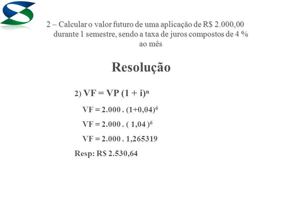 Resolução 2) VF = VP (1 + i)ⁿ VF = 2.000. (1+0,04) 6 VF = 2.000.