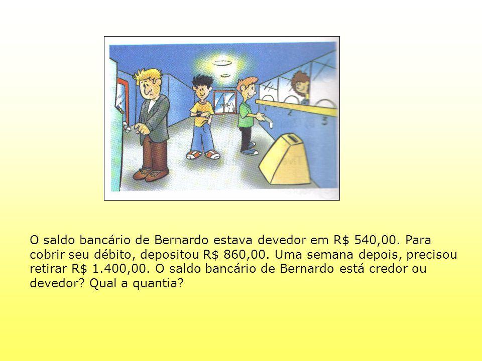 O saldo bancário de Bernardo estava devedor em R$ 540,00. Para cobrir seu débito, depositou R$ 860,00. Uma semana depois, precisou retirar R$ 1.400,00