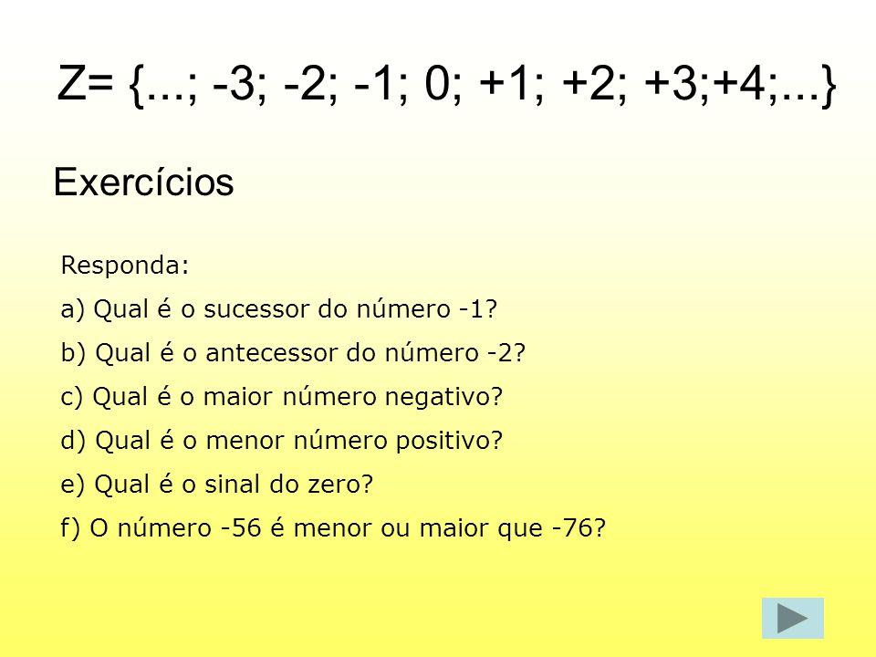 Z= {...; -3; -2; -1; 0; +1; +2; +3;+4;...} Exercícios Responda: a)Qual é o sucessor do número -1? b) Qual é o antecessor do número -2? c) Qual é o mai