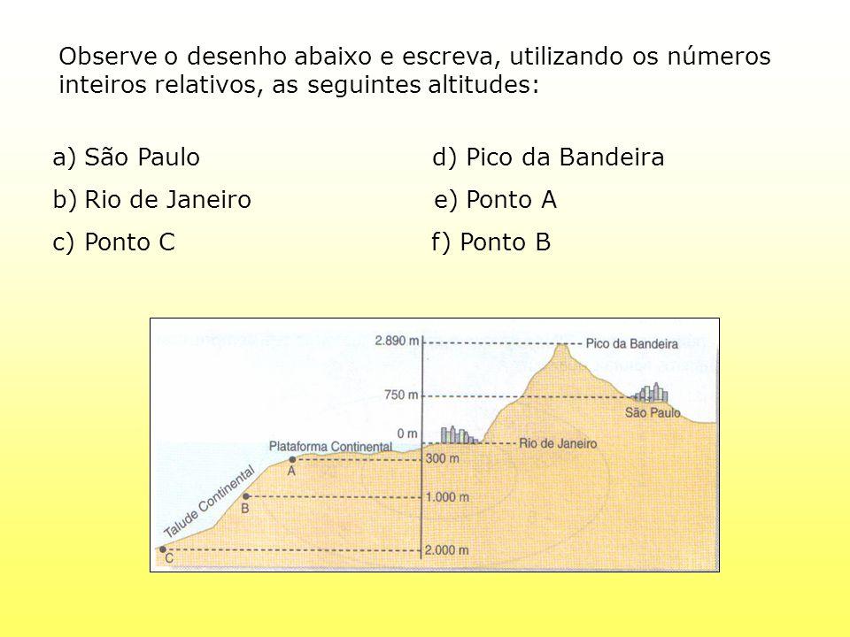 Observe o desenho abaixo e escreva, utilizando os números inteiros relativos, as seguintes altitudes: a)São Paulo d) Pico da Bandeira b)Rio de Janeiro