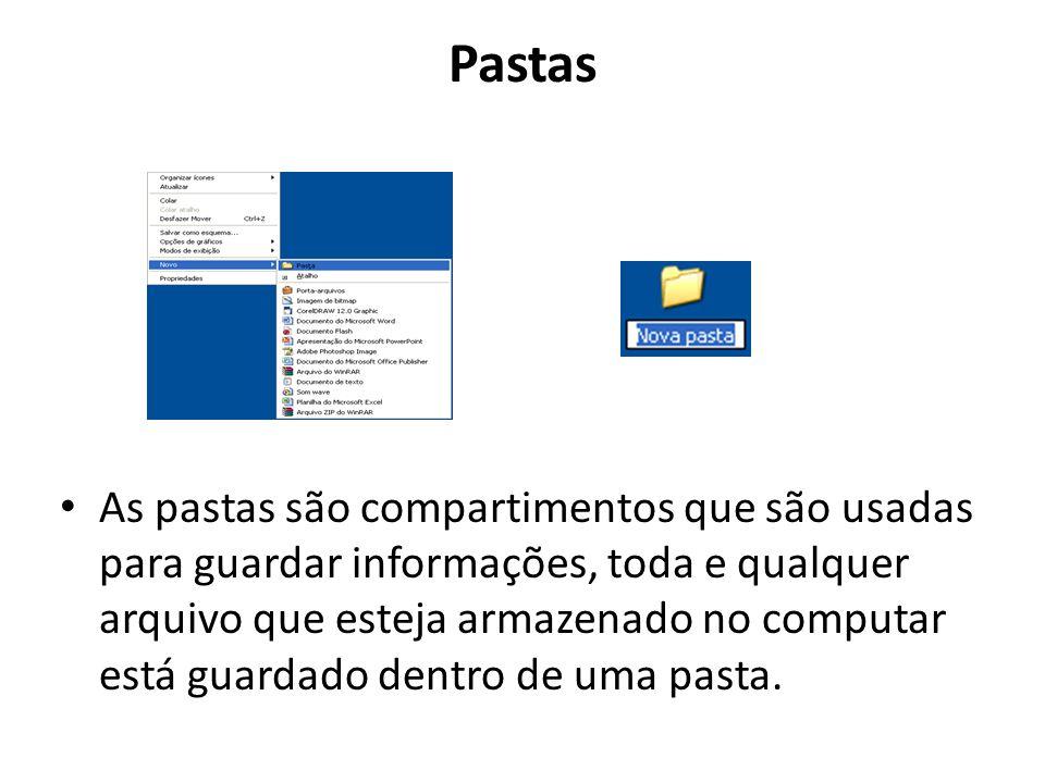 Pastas As pastas são compartimentos que são usadas para guardar informações, toda e qualquer arquivo que esteja armazenado no computar está guardado d