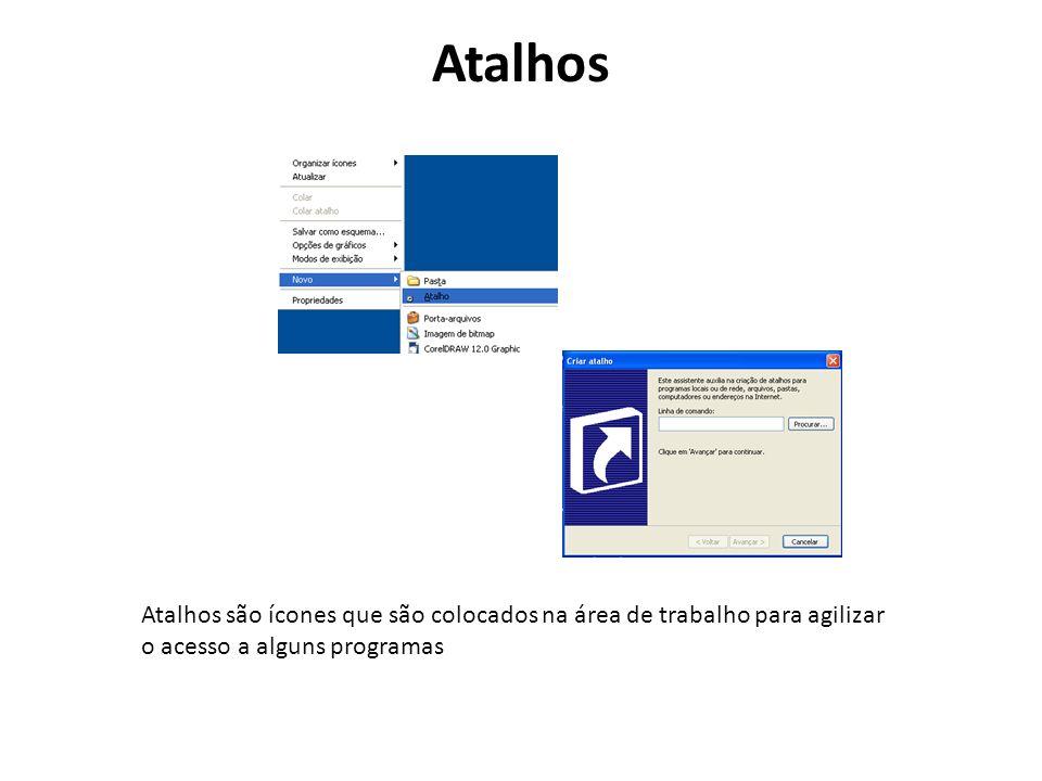 Atalhos Atalhos são ícones que são colocados na área de trabalho para agilizar o acesso a alguns programas