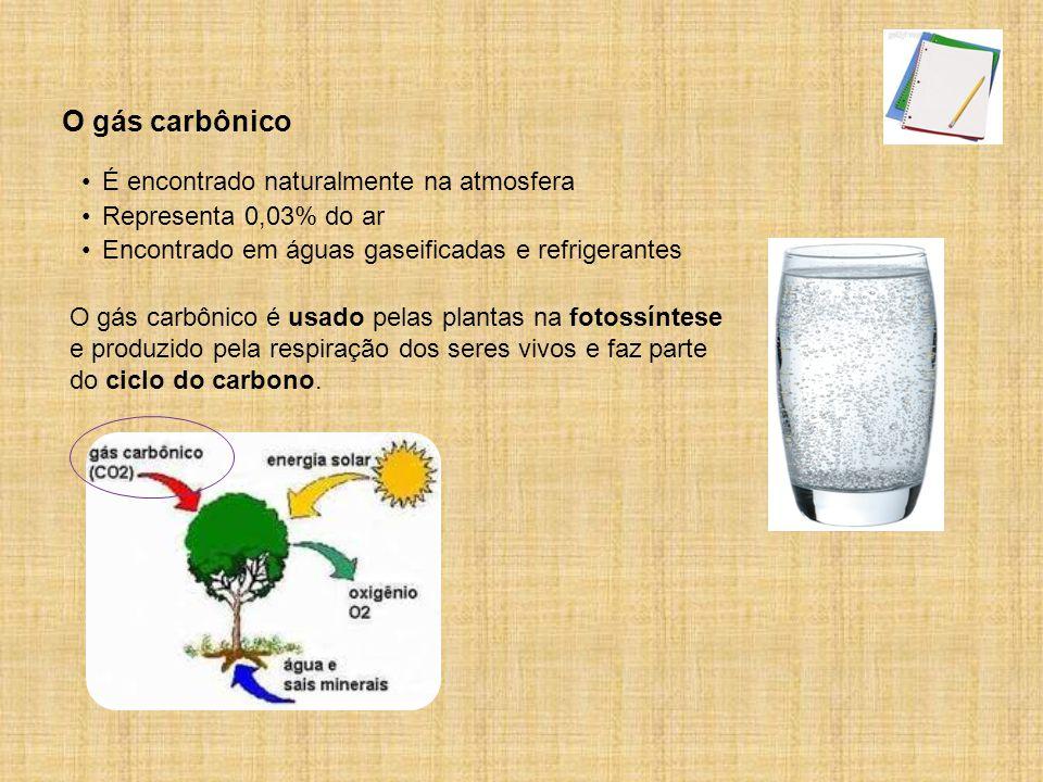 Encontrado em águas gaseificadas e refrigerantes O gás carbônico é usado pelas plantas na fotossíntese e produzido pela respiração dos seres vivos e faz parte do ciclo do carbono.