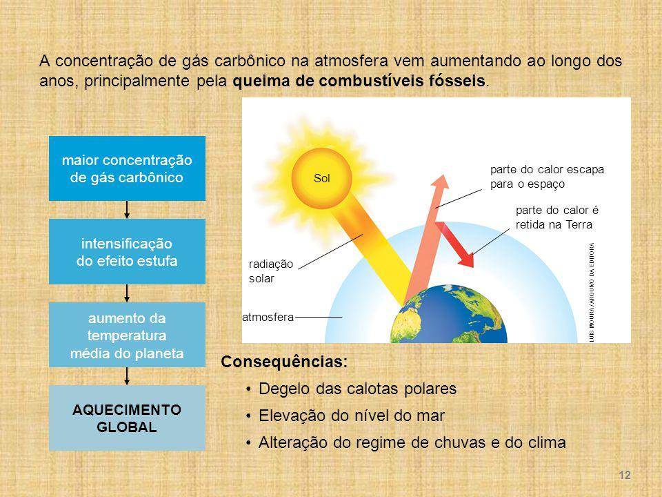 LUÍS MOURA / ARQUIVO DA EDITORA Sol parte do calor é retida na Terra parte do calor escapa para o espaço radiação solar atmosfera A concentração de gás carbônico na atmosfera vem aumentando ao longo dos anos, principalmente pela queima de combustíveis fósseis.