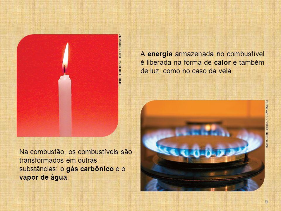 A energia armazenada no combustível é liberada na forma de calor e também de luz, como no caso da vela.