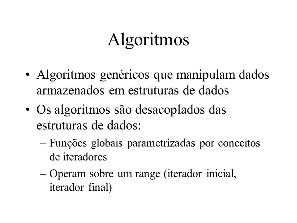 Algoritmos Algoritmos genéricos que manipulam dados armazenados em estruturas de dados Os algoritmos são desacoplados das estruturas de dados: –Funções globais parametrizadas por conceitos de iteradores –Operam sobre um range (iterador inicial, iterador final)