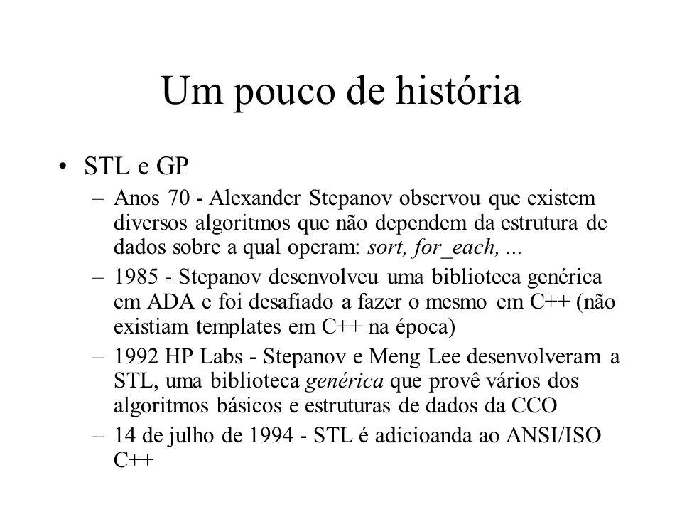 Um pouco de história STL e GP –Anos 70 - Alexander Stepanov observou que existem diversos algoritmos que não dependem da estrutura de dados sobre a qual operam: sort, for_each,...