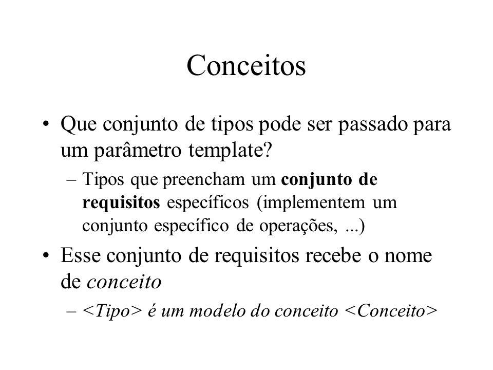 Conceitos Que conjunto de tipos pode ser passado para um parâmetro template.