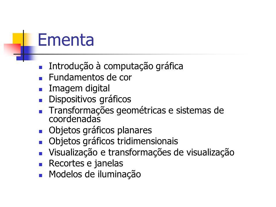 Ementa Introdução à computação gráfica Fundamentos de cor Imagem digital Dispositivos gráficos Transformações geométricas e sistemas de coordenadas Ob