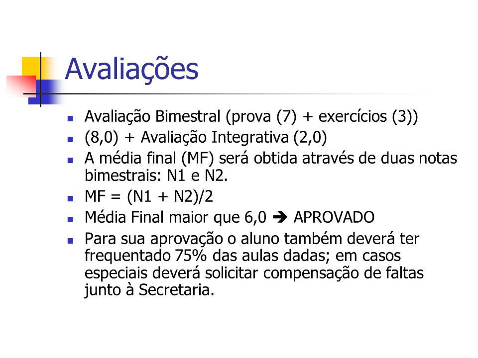 Avaliações Avaliação Bimestral (prova (7) + exercícios (3)) (8,0) + Avaliação Integrativa (2,0) A média final (MF) será obtida através de duas notas b