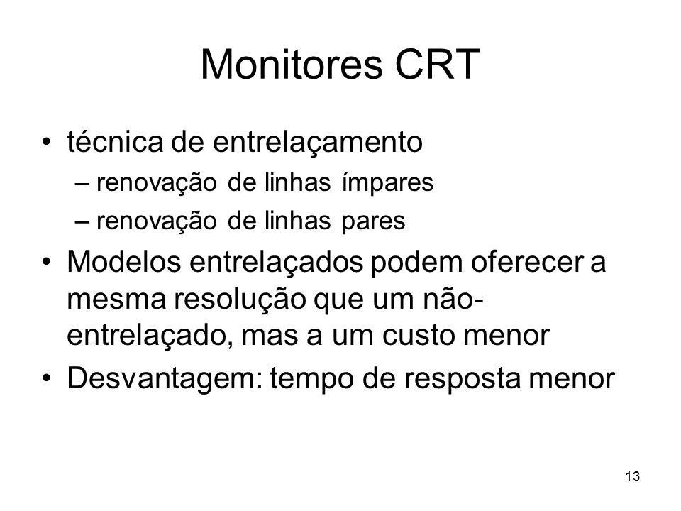 13 Monitores CRT técnica de entrelaçamento –renovação de linhas ímpares –renovação de linhas pares Modelos entrelaçados podem oferecer a mesma resoluç