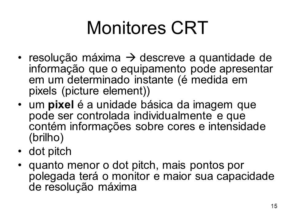 15 Monitores CRT resolução máxima  descreve a quantidade de informação que o equipamento pode apresentar em um determinado instante (é medida em pixe