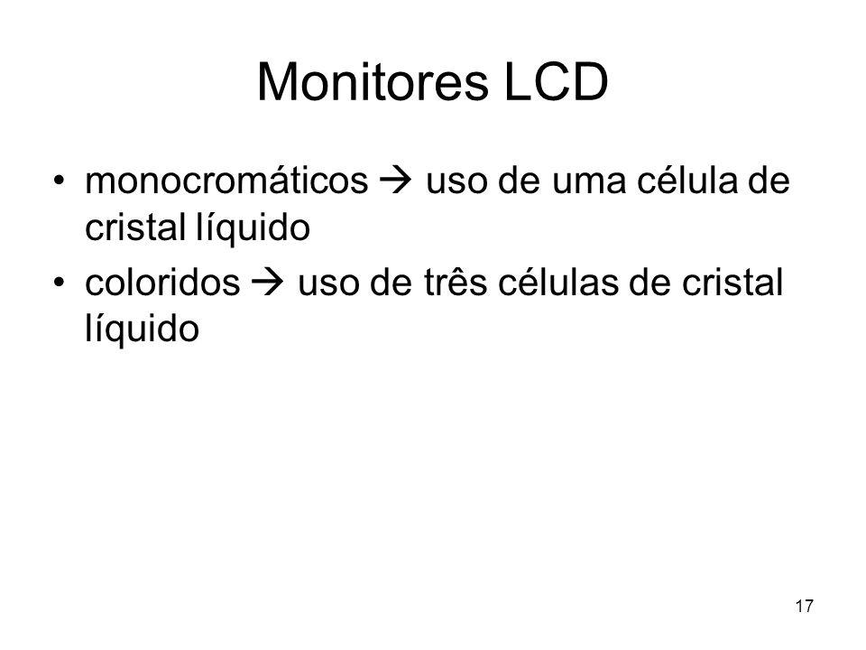 17 Monitores LCD monocromáticos  uso de uma célula de cristal líquido coloridos  uso de três células de cristal líquido