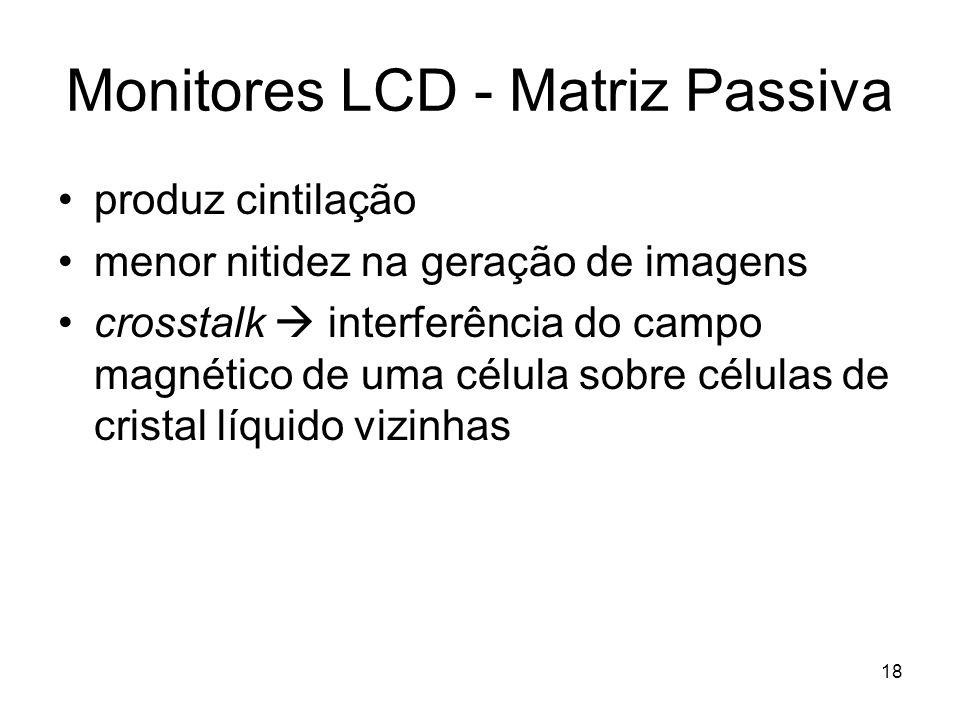 18 Monitores LCD - Matriz Passiva produz cintilação menor nitidez na geração de imagens crosstalk  interferência do campo magnético de uma célula sob