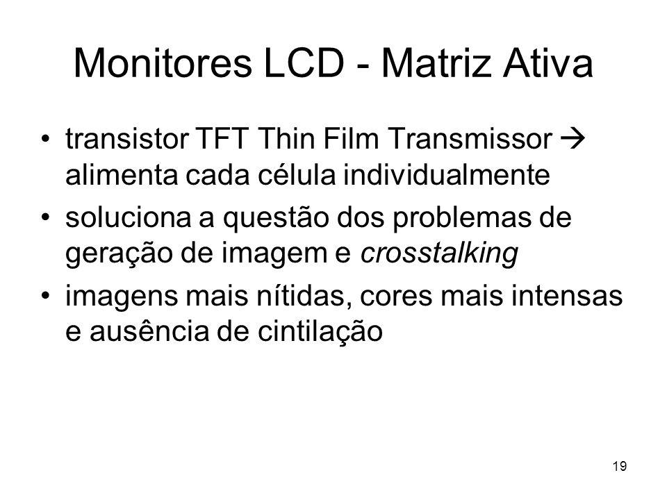19 Monitores LCD - Matriz Ativa transistor TFT Thin Film Transmissor  alimenta cada célula individualmente soluciona a questão dos problemas de geraç