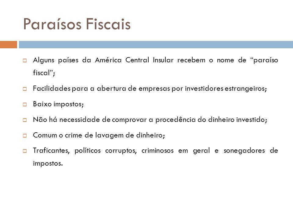"""Paraísos Fiscais  Alguns países da América Central Insular recebem o nome de """"paraíso fiscal"""";  Facilidades para a abertura de empresas por investid"""