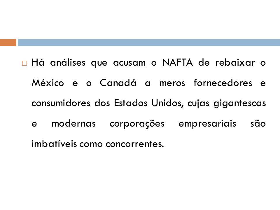  Há análises que acusam o NAFTA de rebaixar o México e o Canadá a meros fornecedores e consumidores dos Estados Unidos, cujas gigantescas e modernas