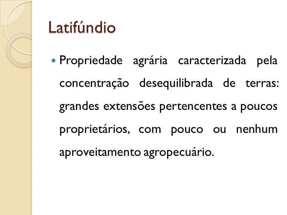 Latifúndio Propriedade agrária caracterizada pela concentração desequilibrada de terras: grandes extensões pertencentes a poucos proprietários, com pouco ou nenhum aproveitamento agropecuário.