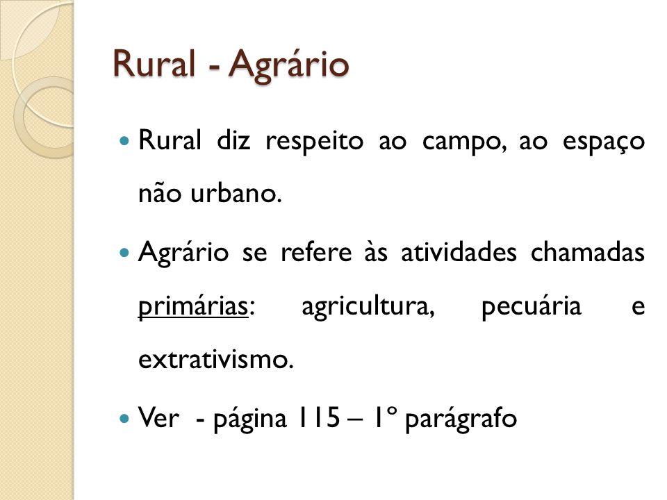 Rural - Agrário Rural diz respeito ao campo, ao espaço não urbano. Agrário se refere às atividades chamadas primárias: agricultura, pecuária e extrati