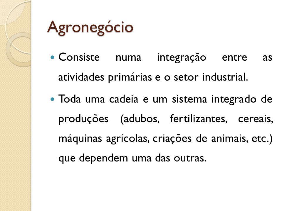 Agronegócio Consiste numa integração entre as atividades primárias e o setor industrial. Toda uma cadeia e um sistema integrado de produções (adubos,
