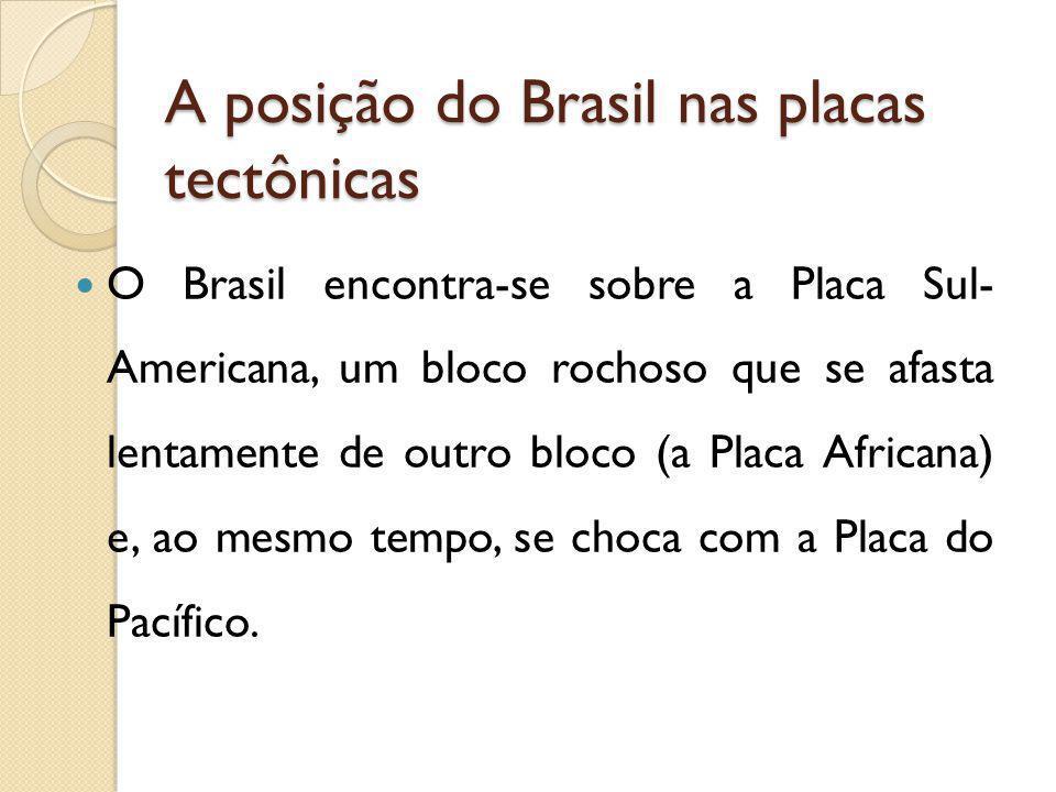A posição do Brasil nas placas tectônicas O Brasil encontra-se sobre a Placa Sul- Americana, um bloco rochoso que se afasta lentamente de outro bloco